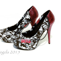 The Walking Dead Red Glitter Heels-Zombie Shoes-Cosplay-fangirl-Party Pumps