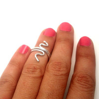 Above the Knuckle Ring -snake  ring - mate silver plated  ring