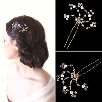 TREAZY Bridal Crystal Beads Floral Hair Pin Gold Color Hair Clip Handmade Hairpins Bridesmaid Bride Wedding Hair Accessories