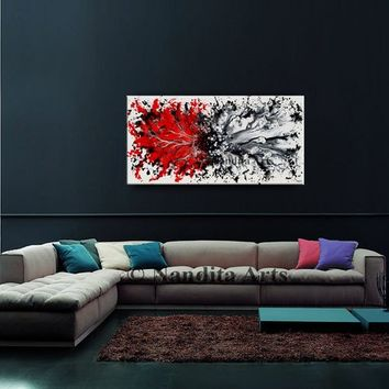 Abstract 48 inch Red and White Original Modern Splash Art on Canvas, Wall Decor, Home Decor, Contemporary Art by Nandita Albright