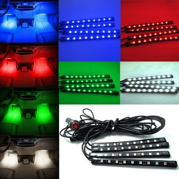 1set Ultra Blue White Red Green 5050 Car LED Strip Interior Underdash Floor Atmosphere Light Kit