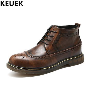 British style Autumn Men boots Genuine leather Vintage Brogue Shoes Cow Muscle Outsole Low-heel Male Ankle boots 022