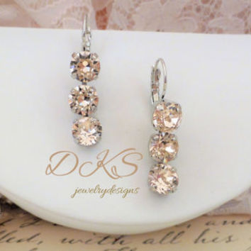 Blush, Swarovski Drop Earrings, Lever Backs, Dangles, Bridal, Prom, Formal, Crystal, DKSJewelrydesigns, FREE SHIPPING