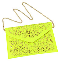 Neon Yellow Cut Out Envelope Clutch