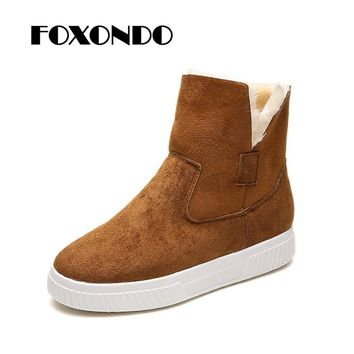 FOXONDO Classic Women Winter Boots Suede Ankle Snow Boots Female Warm Fur Plush Insole High Quality Botas Mujer Lace-Up