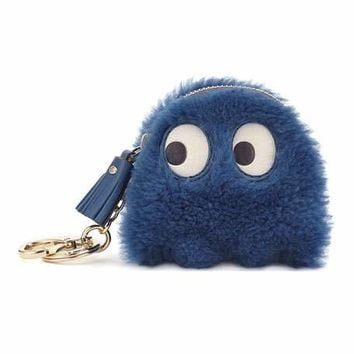 Anya Hindmarch Shearling Ghost Coin Case, Blue
