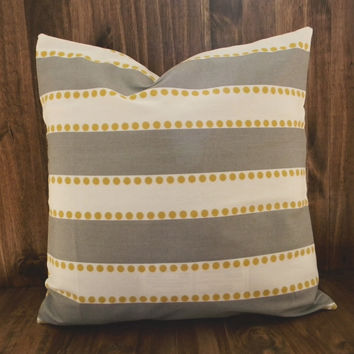 Gray & Yellow Stripes 16 x 16 Pillow Cover, houswarming gift, cushion cover, spring room decor, kids bedroom