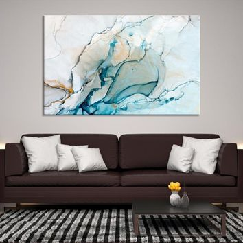 62527 - Turquoise Marble Large Wall Art Canvas Print | Blue Abstract Wall Art