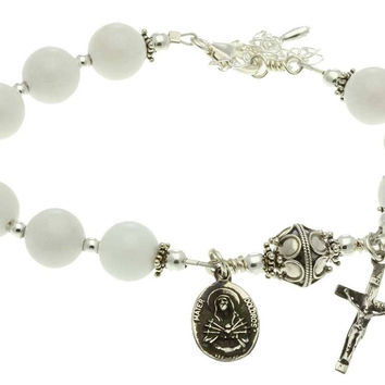 Sterling Silver 7 Sorrows Rosary Bracelet, White Jade 10mm, Crucifix & Lady of Sorrows Medal,