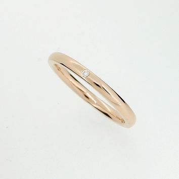 Yellow gold wedding band with diamond, thin wedding ring, promise ring, simple engagement, gold wedding, single diamond  ring, unique, band