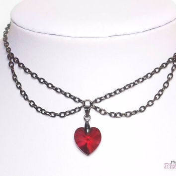 Collar Choker with Genuine Swarovski Crystal - Red Magma Heart - Nickel and Lead Free- Gift Box