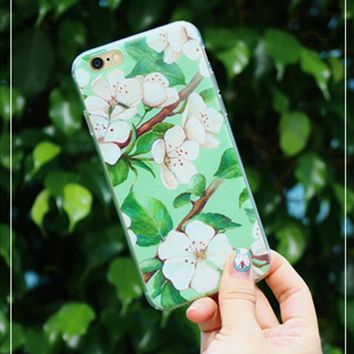 Hot ! iPhone 7 iPhone 7 plus - Stylish Cute On Sale Hot Deal Matte Couple Phone Case For iphone 6 6s 6plus 6s plus Green flowers