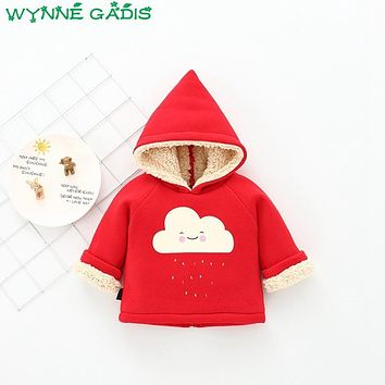 Winter Baby Girls Rainbow Cloud Long Sleeve Hooded Thick Warm Fleece Casual Jacket Kids Cotton Outerwear Coat casaco
