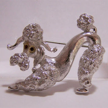 Monet Poodle Dog Pin, Figural Poodle Brooch,  Red Rhinestone Eyes, Silver Tone Dog, Mid Century Figural Jewelry 717