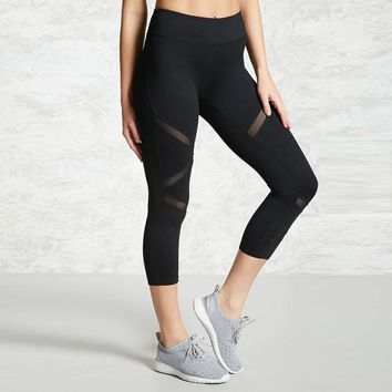 Skinny Sexy Mesh Patchwork Sports Leggings Women 2017 Fitness Clothing Black Gym Trousers Sportswear Yoga Pants Running Tights #