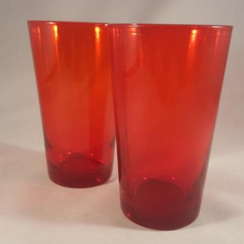 Hand Blown Red Drinking Glasses  S/2