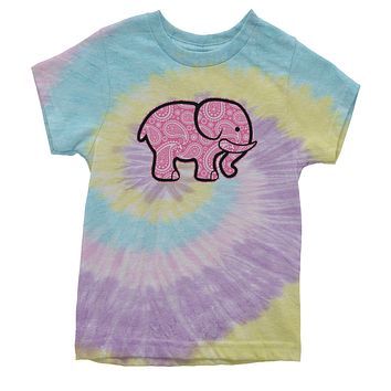 Pink Paisley Elephant Youth Tie-Dye T-shirt