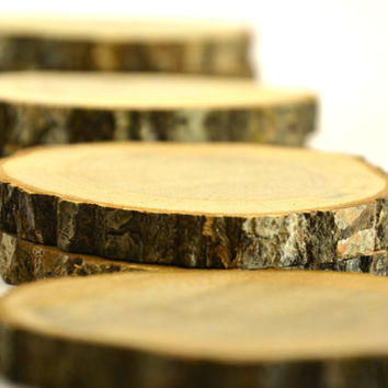 4 pieces of Unfinished Oak Tree Wood Coasters for rustic wedding decors, home wooden decors, wood slice, oak wood disc