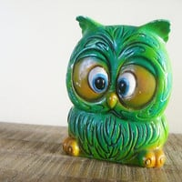 Vintage Green Ceramic Owl Bank