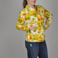 Spring Jacket, Vintage Jacket, Yellow Jacket, Boho Jacket, 70's Jacket, Floral Jacket, Button Down, Casual Jacket, Short Jacket