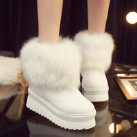 Hot Deal On Sale Thick Crust Round-toe Rabbit Winter Boots [8838908428]
