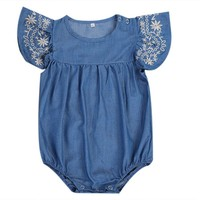 Toddler Kids Baby Girls Infant Clothes Bodysuits Denim Jumpsuit Outfit Cute Baby Girls Short Sleeve Clothing Sunsuit Set