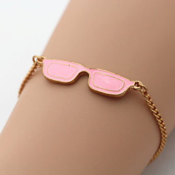 Gold Pink Glasses Bracelet, Gold Chain, Personalized Friendship Graduation Birthday Christmas Gifts, Unique Bridesmaid Jewelry, Pink Jewelry