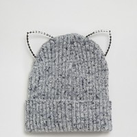 River Island Kitten Ears Beanie Hat at asos.com