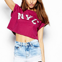 Summer Style Street Punk Hipster Vintage Swag NYC Tumblr Top Short Sleeve Women's T Shirt Crop Top