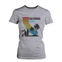 CA Map Gradation California Beach Surf Graphic T-shirt for Women Tee for Surfer