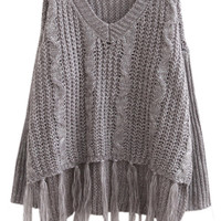 Grey V Neck Fringed Knit Long Sleeve Sweater