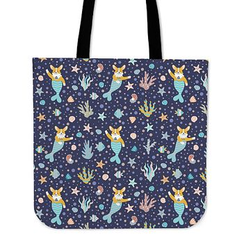 Corgi Mermaid Linen Tote Bag - Promo