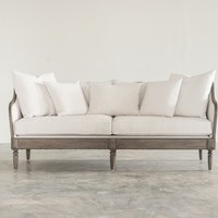 KINGSTON SOFA, VINTAGE LINEN WHITE, GREY ON OAK