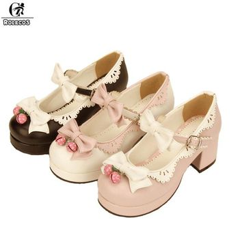 ROLECOS Sweet Lolita Shoes For Girls Cute Bowknot Round Toe Bells Shoes Lovely Platform Thick Heel Cosplay Shoes Women Shoes