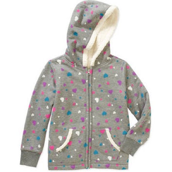 Healthtex Baby Toddler Girl Cozy Sherpa lined Zip Hoodie Faux Fur, 6/6X, Grey