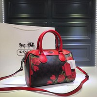 hcxx 1799 Coach YKK  Zipper Printed Handbag Pillow bag black red