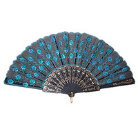 Bestselling Blue Chinese Japanese Folding Peacock Hand Fan Bead Fabric US Seller Decor New