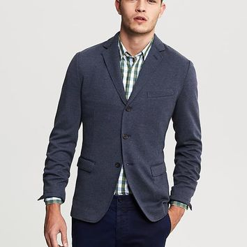 Banana Republic Tailored Fit Textured Navy Knit Blazer