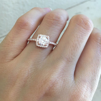 Small Rose Gold Promise Ring- Rose Gold Ring- Cubic Zirconia Ring- Square Shaped Ring- Halo Ring- Anniversary Ring- Gemstone Ring