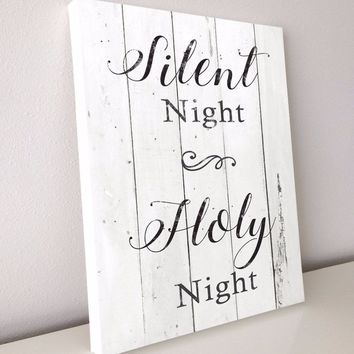 Silent Night, Christmas Décor, Farmhouse Style Canvas, 16x20