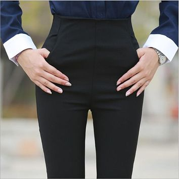 Korean Style Side Zipper Women's Pants High Waist Black OL Office Work Lady Slim Feet Trousers 2018 female Fashion Pencil Pant