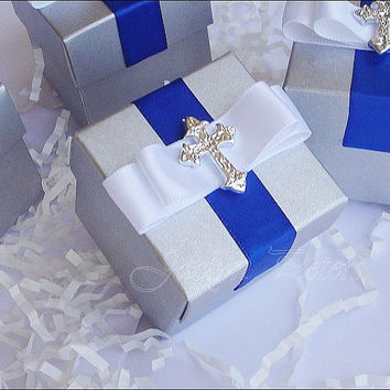 Boy's Baptism Or Communion Candy Favor Box, Silver And Royal Blue, Satin Ribbon, Cross Charm, Rosary Bead Holder, Truffle Box, Set Of 24