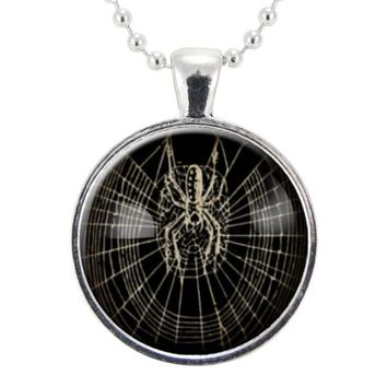 Halloween Spider Necklace, Spooky Spider Web Jewelry, Goth Macabre Pendant
