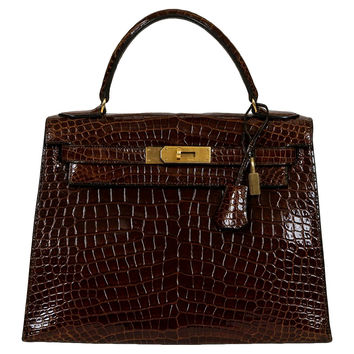 Hermès Brown Crocodile 28cm Kelly Bag