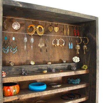 rustic wooden wall hanging jewelry organizer