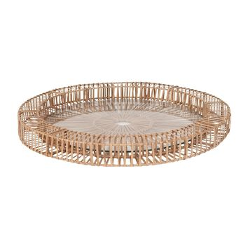 Natural Split Rattan Spoke Tray Lg