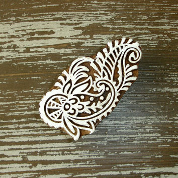 Indian Printing Block, Hand Carved Wood Stamp, Paisley Flower Shell Leaf Feather, Wooden Ceramic Tile Pottery Textile Stamp from India