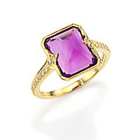 ILA - Dani Amethyst, Diamond & 14K Yellow Gold Cocktail Ring - Saks Fifth Avenue Mobile