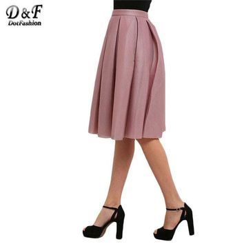 DCCKDZ2 Dotfashion Ladies Summer/Spring Style Pink High Waist Pleated Flare Skirts Casual New Arrival 2016 Women Skirt