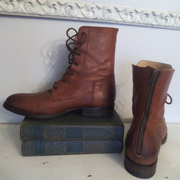 Men's Frye Roper Ankle boots ~ Oiled Leather Size 10 B ~ Zippered Back